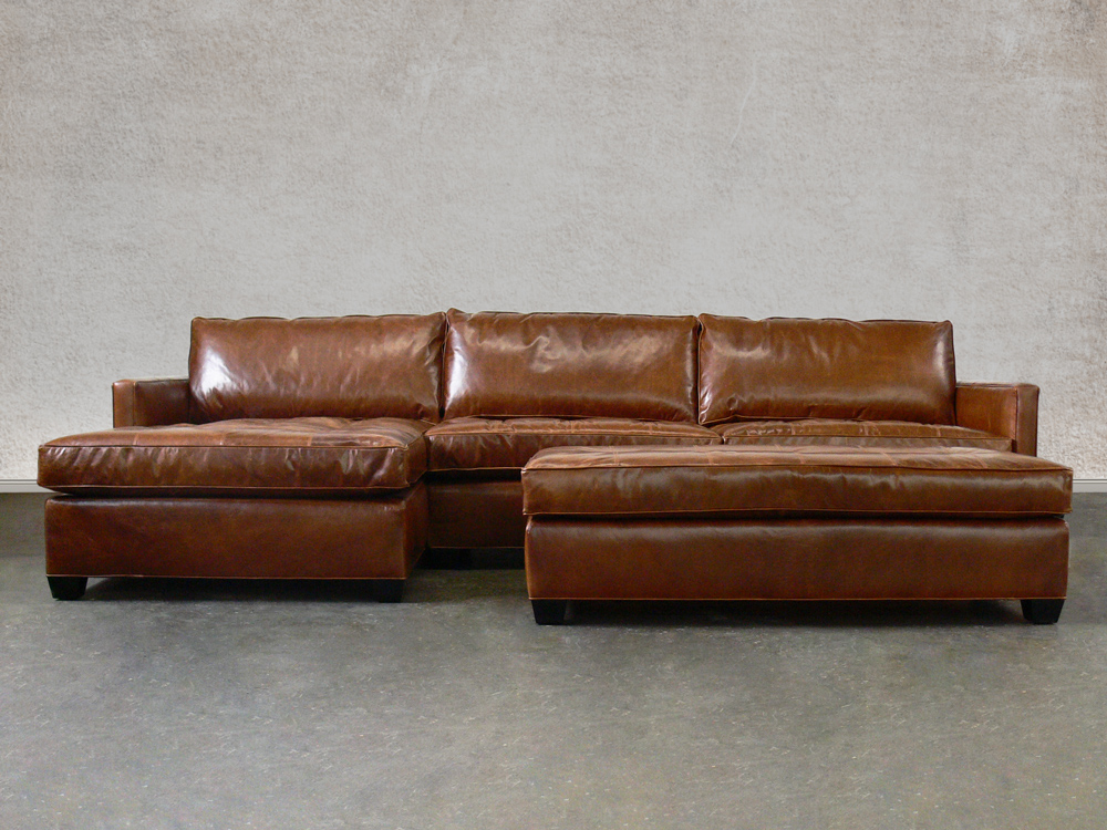 Arizona leather sectional sofa with chaise top grain for Chaise leather sofa
