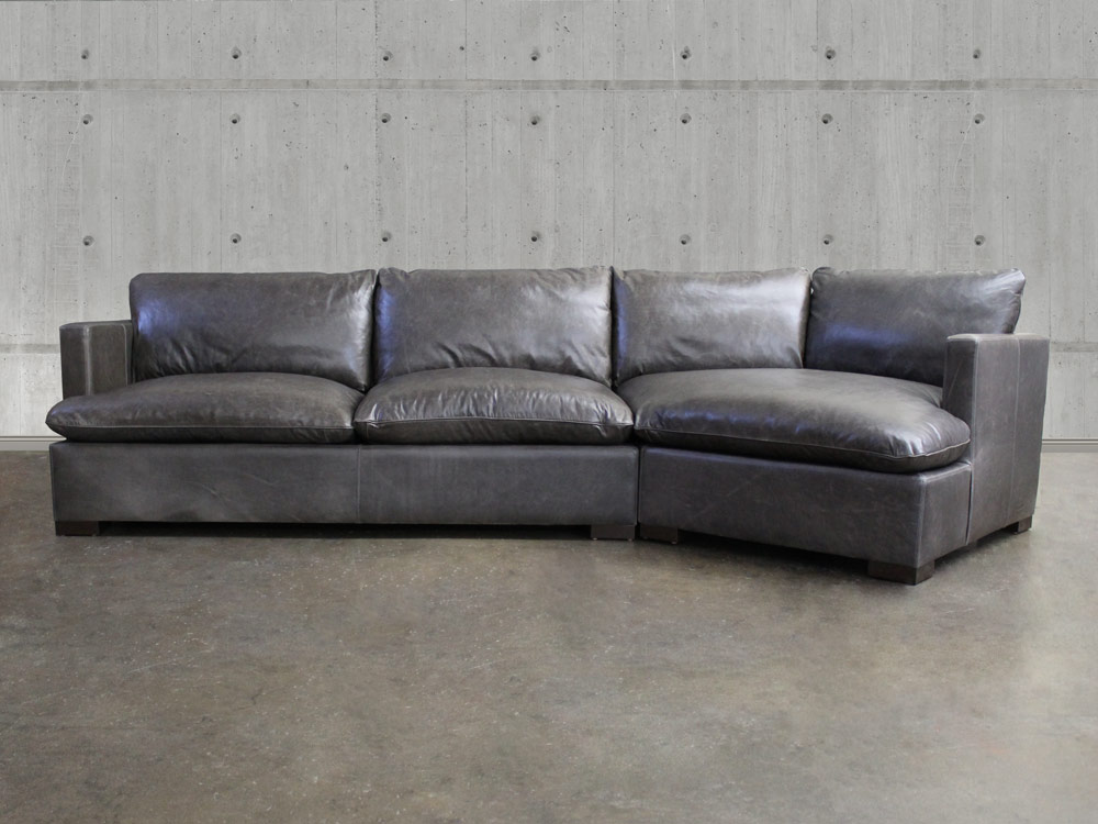 Reno Leather Sectional Sofa with Cuddler - Top Grain ...