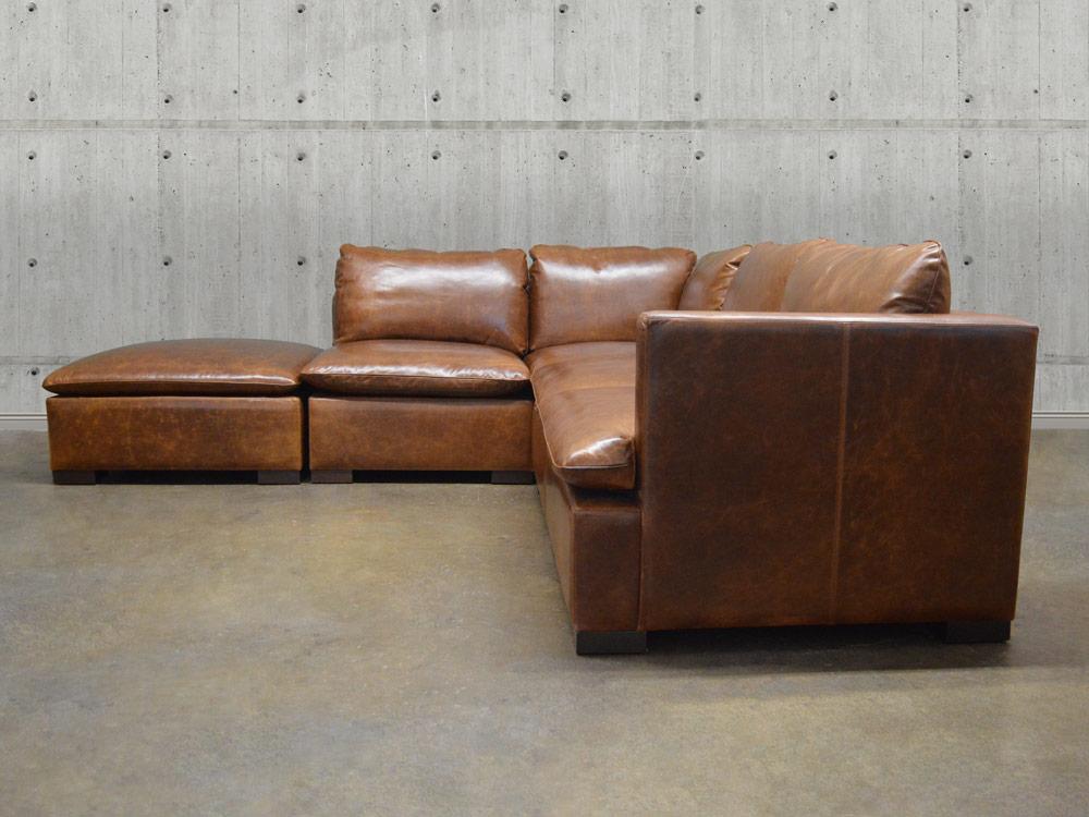 Reno Modular Leather Sectional Sofa Top Grain Aniline Leather