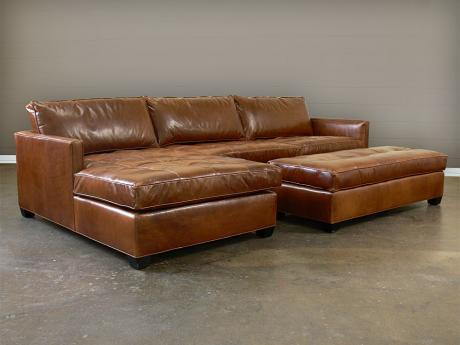 Arizona Leather Sectional Sofa with Chaise - Top Grain Aniline Leather