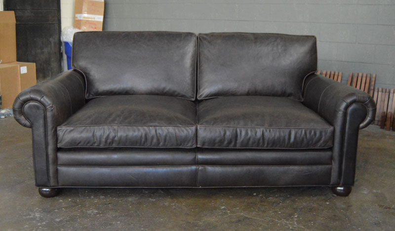 Front view of Langston Leather Sofa in Berkshire Anthracite