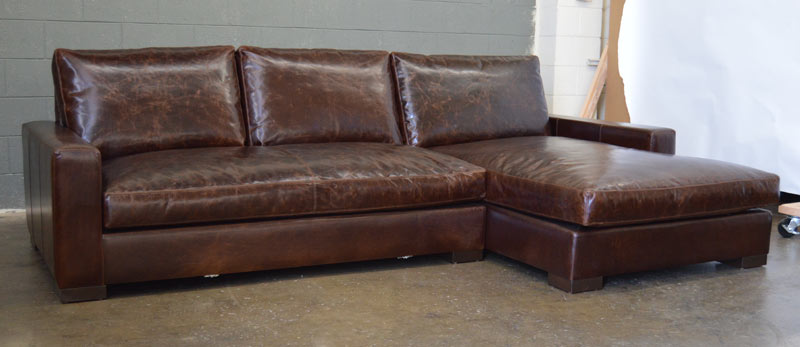 Front left angle view of Braxton Sofa Chaise Sectional in Italian Brompton Cocoa
