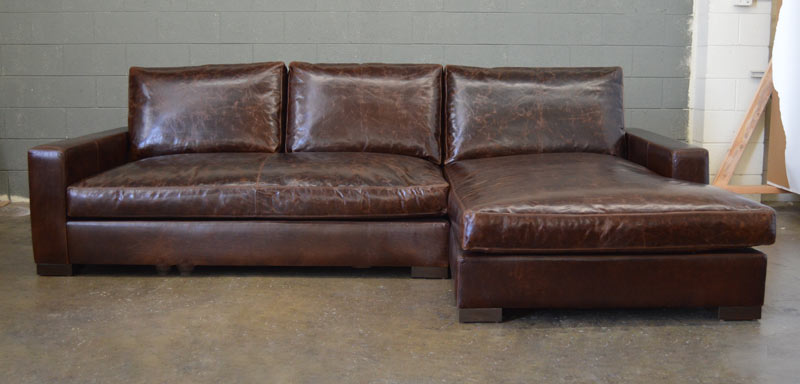 Front view of Braxton Sofa Chaise Sectional in Italian Brompton Cocoa