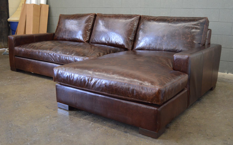 Front right angle view of Braxton Sofa Chaise Sectional in Italian Brompton Cocoa