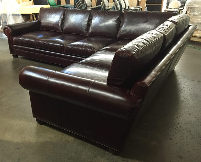 LAF view of the Braxton Leather L Sectional Sofa in Brompton Walnut