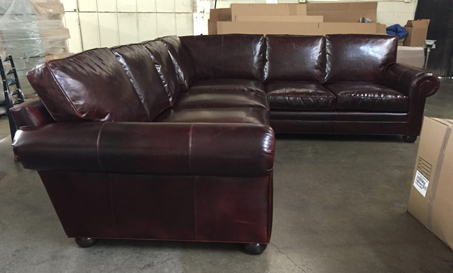 RAF view of the Braxton Leather L Sectional Sofa in Brompton Walnut