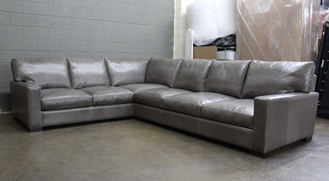 RAF Braxton Leather L Sectional in Glove / Mont Blanc Timberwolf