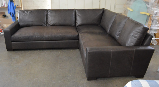 Upper Right Arm Facing view of the Braxton Mini L Sectional Sofa in Italian Berkshire Anthracite Leather