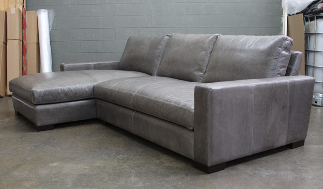 Left view of the Braxton Leather Sofa Chaise Sectional in Glove / Mont Blanc Timberwolf