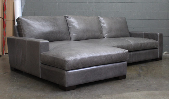 Right view of the Braxton Leather Sofa Chaise Sectional in Glove / Mont Blanc Timberwolf