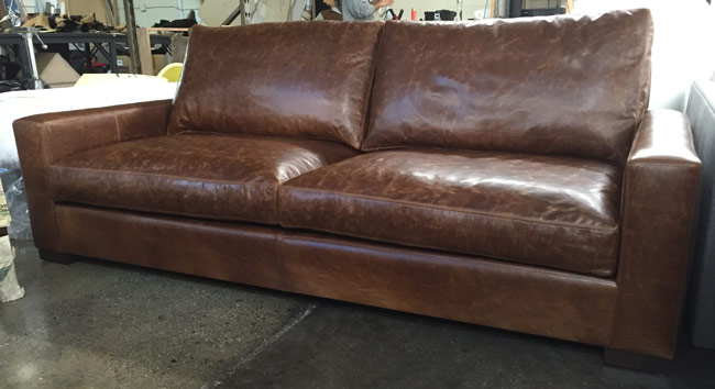 90 inch long Braxton Twin Cushion Leather Sofa in Brompton Classic Vintage