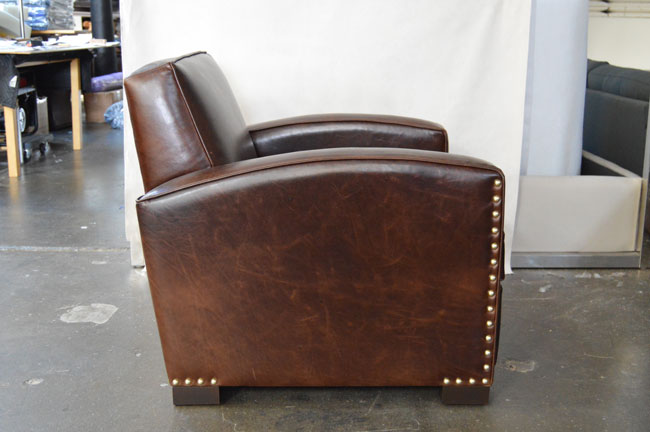 Side view of our Atlas Leather Library Chair in Italian Brompton Cocoa Mocha leather