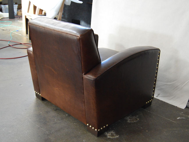 Back angle view of the Atlas Leather Library Chair in Italian Brompton Cocoa Mocha leather
