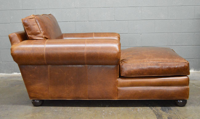 Side view of the Langston Leather Chaise in Italian Brompton Classic Vintage leather