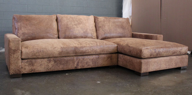 Front angle view of Braxton Sofa Chaise Sectional in Italian Destroyed Leather, Ragtime Natural