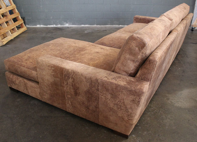 Rear angle view of Braxton Sofa Chaise Sectional in Italian Destroyed Leather, Ragtime Natural