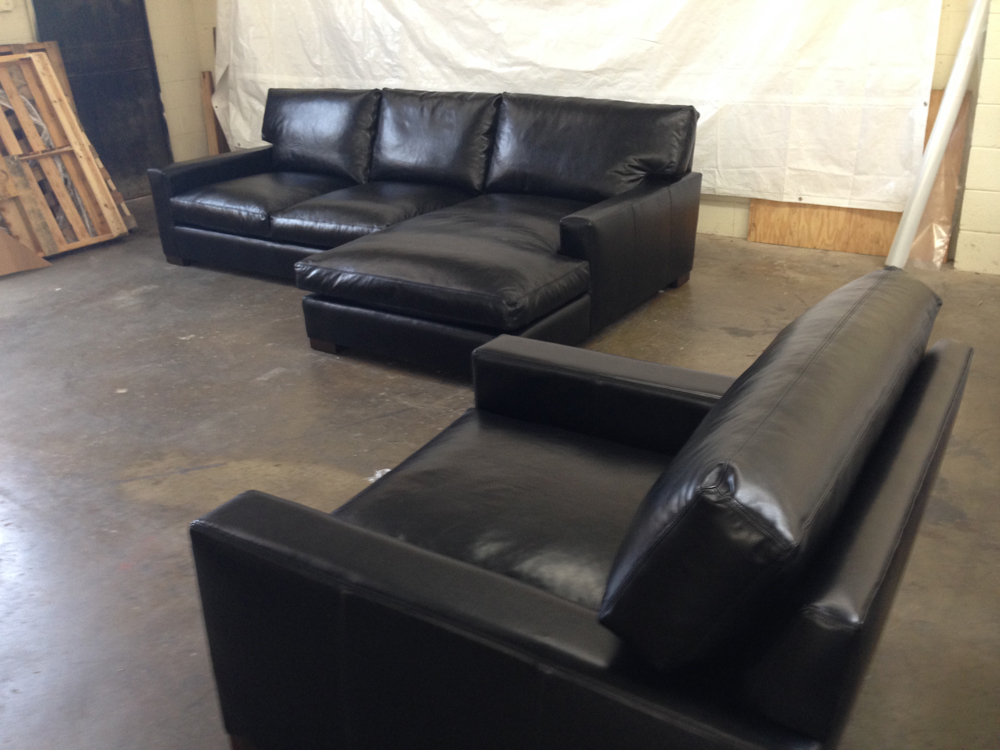 Braxton leather sofa chaise sectional in range black the for Black leather sectional with chaise