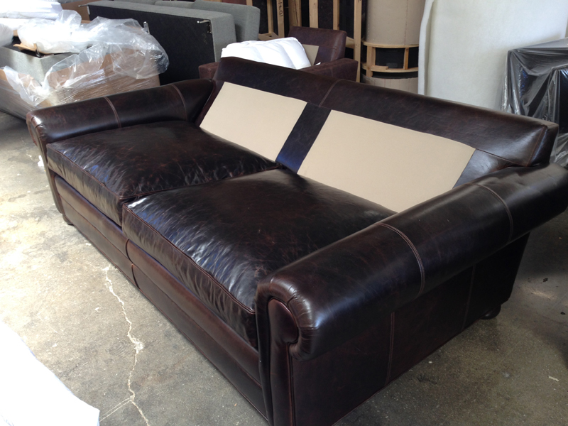 Langston Leather Sofa Sleeper - 48 inches deep - bottom cushions on