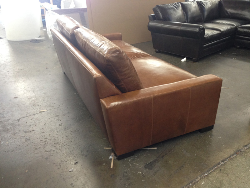 "Braxton 96""L x 46""D Leather Sofa Sleeper - Brompton Vintage - side view"