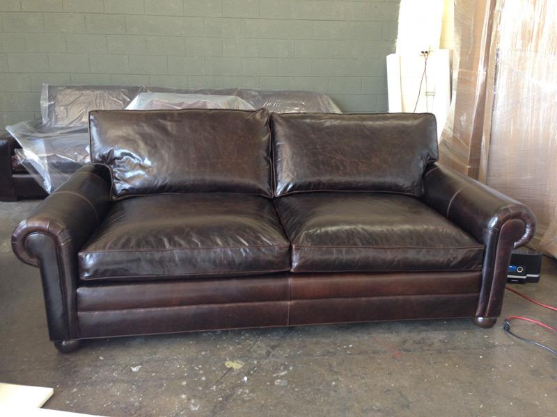 935 langston leather sleeper sofa twin cushion 48 for Sectional sofa deep cushion
