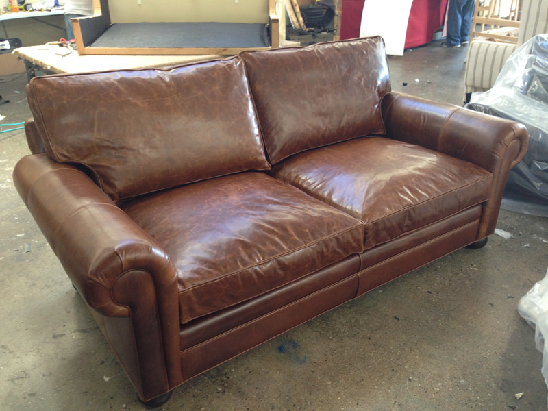 "84"" Langston Leather Sofa in Brompton Classic Vintage"