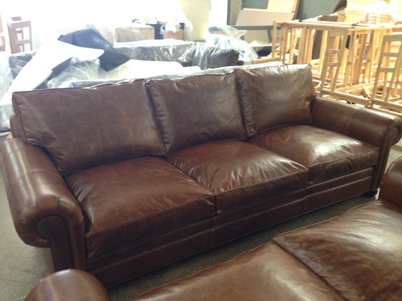 "108"" Langston Leather Sofa in Brompton Classic Vintage"