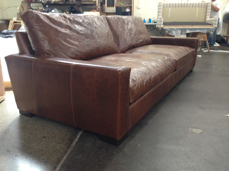 9ft braxton twin cushion leather sofa in brompton classic for Cushions for leather sofas