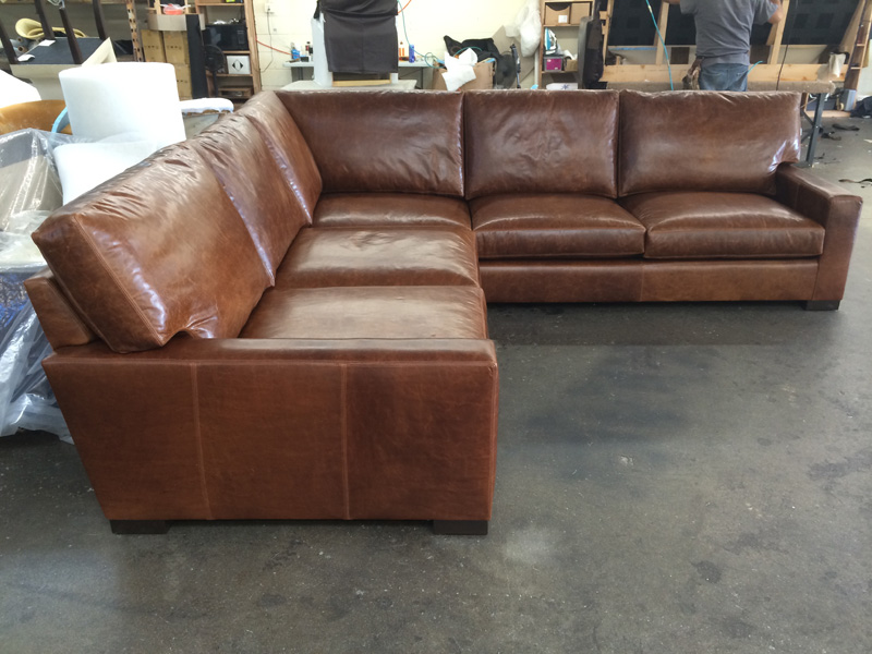 Side View of Custom Braxton Corner Sectional with mixed depths