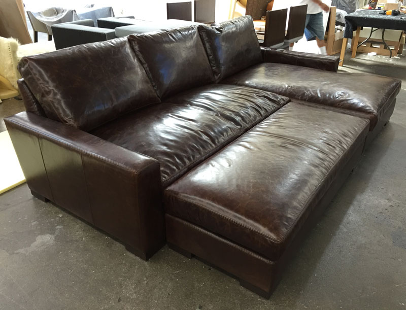 Braxton Sofa Chaise Sectional with Custom Leather Cocktail Ottoman