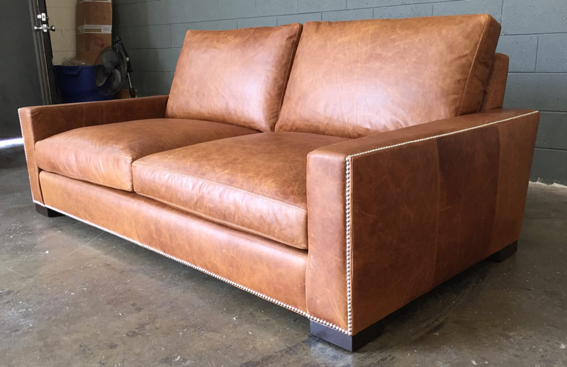 Braxton Leather Sofa in Italian Berkshire Chestnut with Nail Head Trim