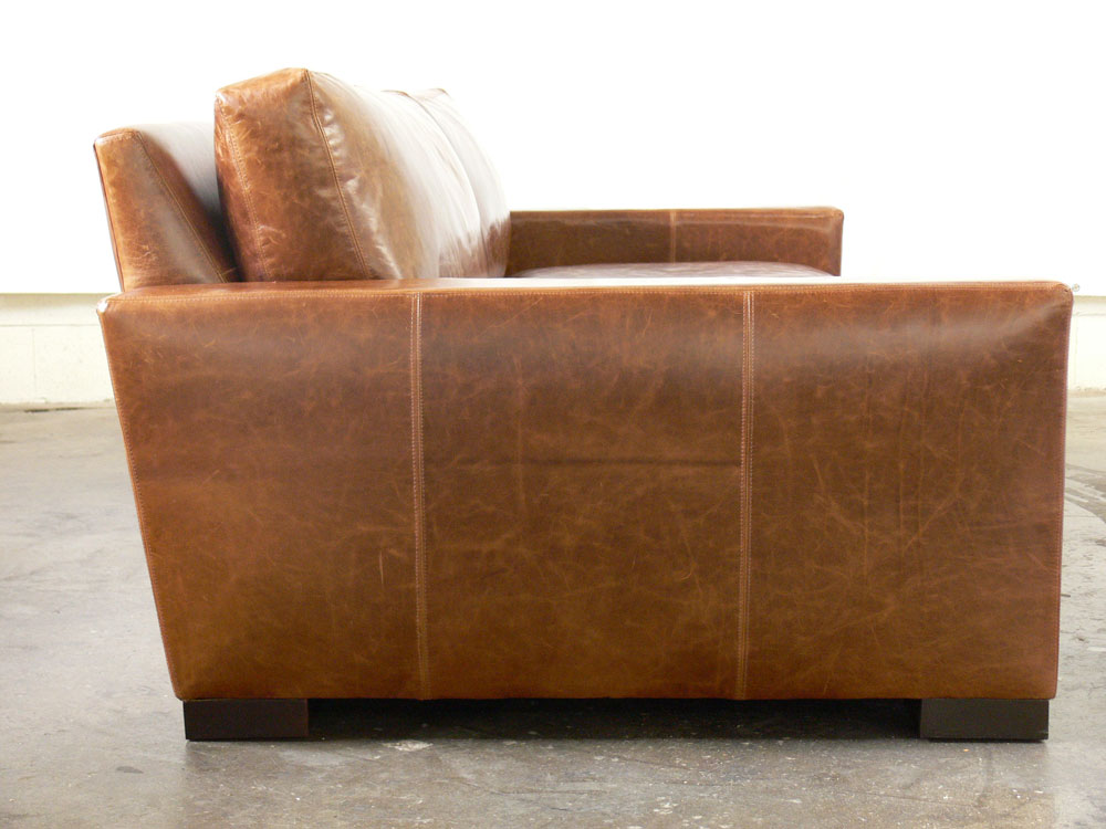 8ft. Braxton Twin Leather Sofa in Brompton Vintage