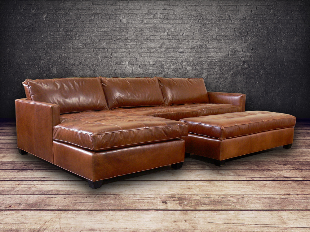 Arizona Leather Sofa Chaise Sectional In Italian Brompton Vintage Clic Front Angle View