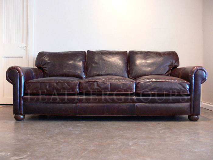 8ft Langston Leather Sofa One Only
