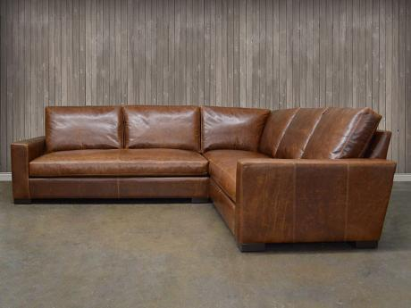 Leather Sectional: Braxton Mini Leather L Sectional Sofa