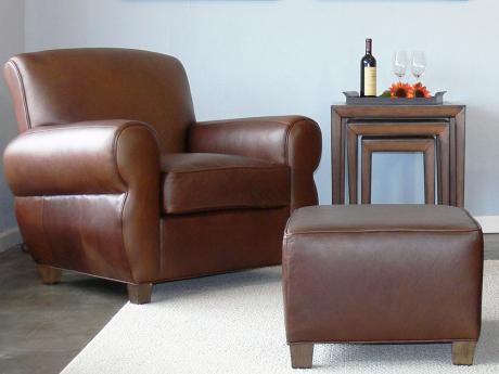 Midtown Leather Club Chair & Ottoman Set