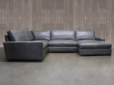 "Braxton Mini Leather ""L"" Sectional Sofa with Chaise"