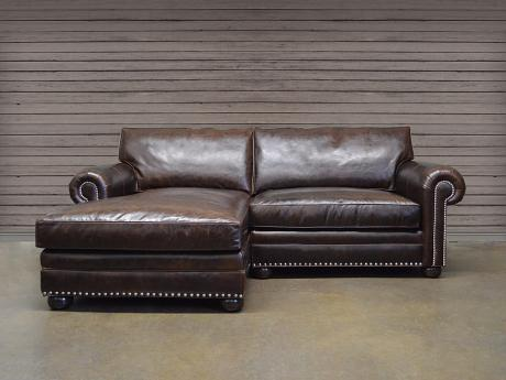 Langston Mini Leather Sofa Chaise Sectional