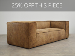 Bonham Leather Sofa in Italian Ragtime Mocha Destroyed Leather - ONE ONLY