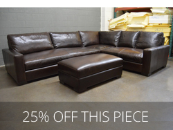 "Braxton Mini Leather ""L"" Sectional Sofa in Glove Truffle - Clearance"