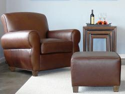 Midtown Leather Club Chair & Ottoman Set